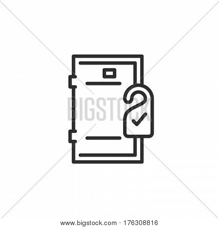 Door hanger line icon outline vector sign linear pictogram isolated on white. Room service symbol logo illustration