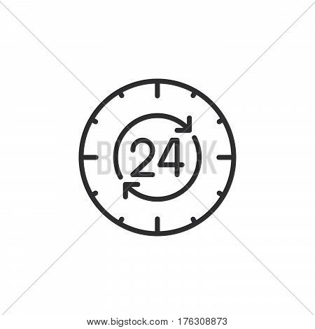 24 hours around the clock line icon outline vector sign linear pictogram isolated on white. Symbol logo illustration