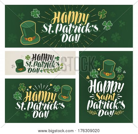 Happy saint Patrick's day, banner. Irish beer festival, label. Vector illustration