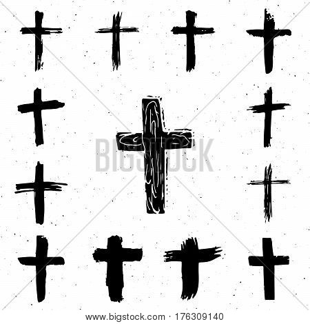 Grunge hand drawn cross symbols set. Christian crosses religious signs icons crucifix symbol vector illustration isplated on white background