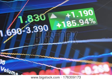 Financial diagram on screen, analyzing and report