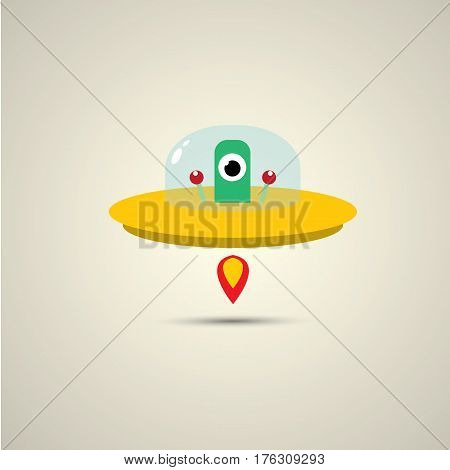 vector flat funny orange alien spaceship logo design template . cartoon ufo alien in space. funny flying saucer