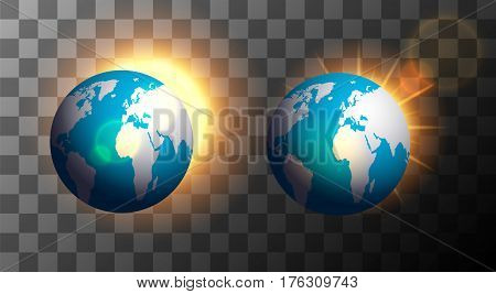 vector modern sunrise over the earth on a transparent background
