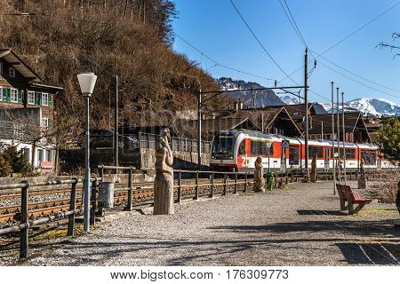 Editorial: 16Th March 2017: Brienz, Switzerland. Railway Station In Little Swiss City.