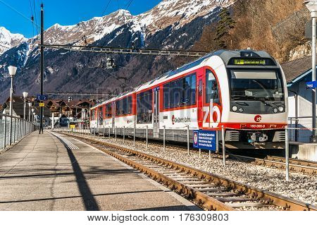 Editorial: 16Th February 2017: Brienz, Switzerland. Railway Station In Little Swiss City.