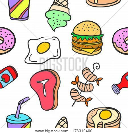 Collection stock of food delicious doodles vector art