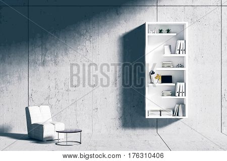 3d rendering : room Minimalist interior light and shadow with white book shelf and fabric sofa at front of cement concrete floor and wall. loft cement wall in background.filtered image to comic halftone