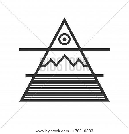 Triangle Divided Into Three Elements Water Ground Air Sun Sacral Geometry