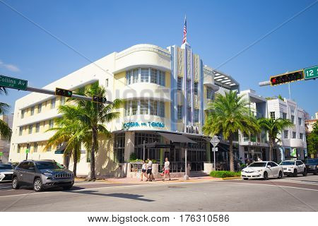 USA, FLORIDA, MIAMI: NOVEMBER 11, 2016. Renovated Hotel in Art Deco architectural district, one of the main tourist attractions in Miami, South Beach