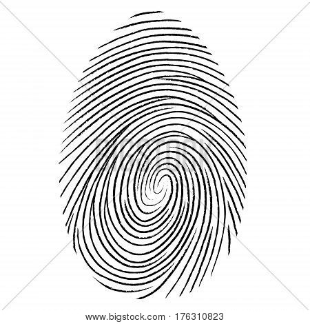 Black fingerprint shape. secure identification. Vector fingerprint illustration