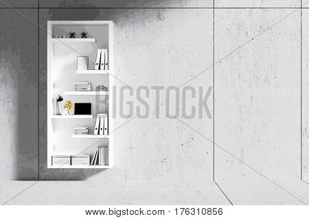 3d rendering : room Minimalist interior light and shadow with white book shelf at front of cement concrete floor and wall. loft cement wall in background.filtered image to comic halftone