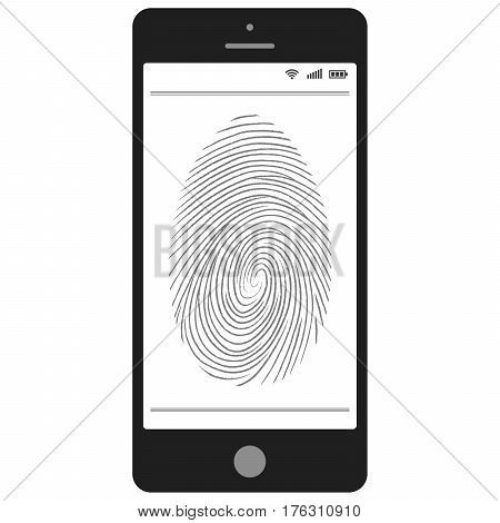 scanning of the fingerprint on the mobile phone, a Smartphone capable of identification by fingerprint, vector technology