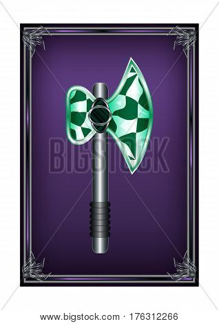 Stock Frame Axe Cartoon Medieval Weapon Element. Vector Illustration Can be used for RPG, Web, Mobile App, Infographics. Game asset.