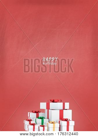 many happy birthday gift boxes with red ribbons for special  valentine or gift of birthday.