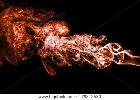 Abstract Color Smoke On Black Background, Orange Smoke Background,orange Ink Background,orange Smoke