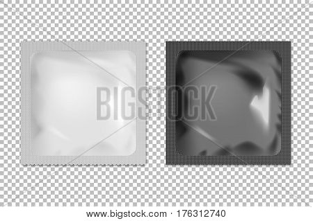 Realistic vector blank white and black foil wet wipes, food packing or condom template set isolated. EPS10 illustration.