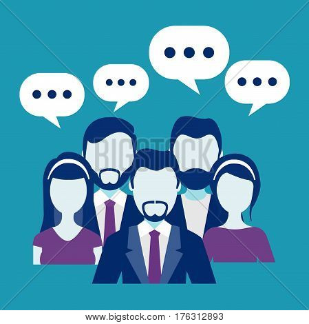 Business people with speech bubbles. Group people business and business teamwork. Communication graphic. Vector stock.