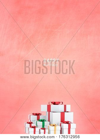 many happy birthday gift boxes with red ribbons for special day valentine or gift of birthday.