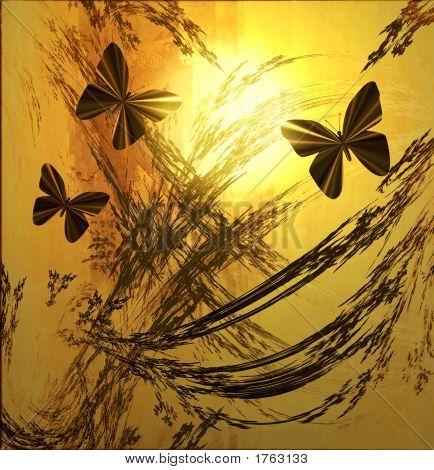 Butterflies  On Golden Sunset Grunge