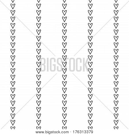 Abstract stripe pattern with hand drawn doodle hearts. Cute vector black and white stripe pattern. Seamless monochrome vertical stripe pattern for fabric, cards, wrapping paper and web backgrounds.