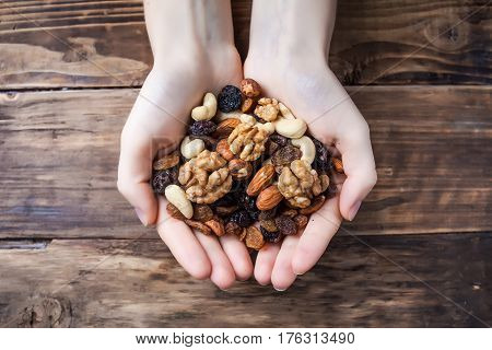 A mix of dried fruits and nuts
