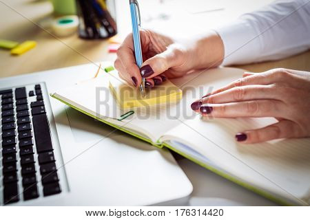 Businesswoman fill the form beautiful closeup picture