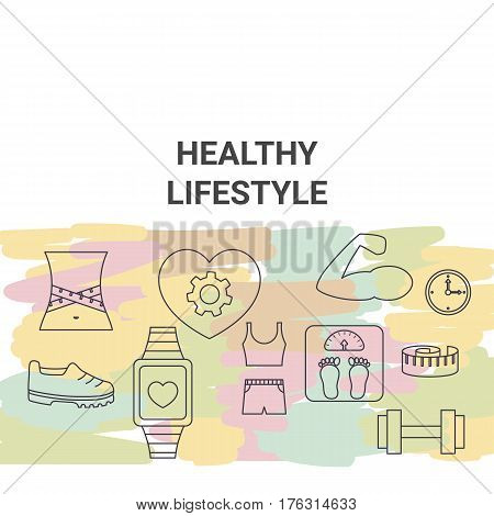 Healthy lifestyle concept. Background with healthy lifestyle symbol.