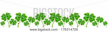 Line of vector four-leaf clovers, vector Saint Patrick's Day border isolated on white background