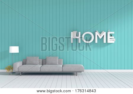 3d rendering : room Minimalist interior light and shadow with Gray fabric long sofa at front of wooden green mint blue pastel wall and white floor. minimalism style wall background. HOME book shelf