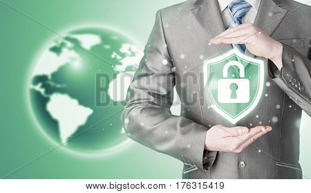 Data protection and insurance. Concept of business security, safety of information from virus, crime and attack. Internet secure system. Globe background. World wide insurance.