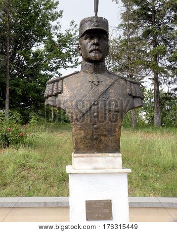 Statue of an hero in Marasesti, memorial from the WWI. In 1917 during World War I, the Battle of Mărăşeşti between the Kingdom of Romania and the German Empire was fought near the town. A mausoleum containing the remains of 5,073 Romanian soldiers was bui