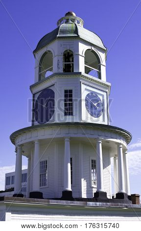 Halifax, Nova Scotia, September 23, 2015 -- Vertical view of the historic Clock tower on Citadel Hill in Halifax, Nova Scotia on a bright sunny day in September