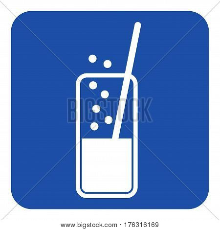 blue rounded square information road sign - white glass with carbonated drink and straw icon