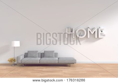 3d rendering : room Minimalist interior light and shadow with Gray fabric long sofa at front of white wall and wooden floor. minimalism style wall background. design your HOME concept