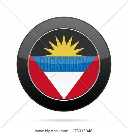 National flag of Antigua and Barbuda. Shiny black round button with shadow.