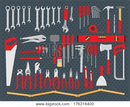 Repair and construction tools collection - do it yourself project. Vector illustration