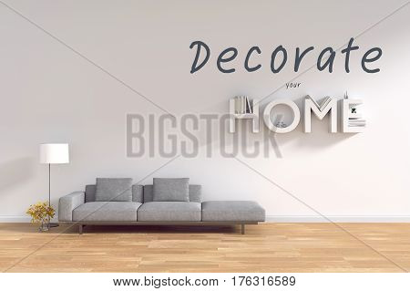 3d rendering : room Minimalist interior light and shadow with Gray fabric long sofa at front of white wall and wooden floor. minimalism style wall background. decorate your HOME concept