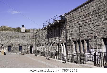 Halifax, Nova Scotia, September 23, 2015 -- Wide view of the interior walls of the fortress at the Citadel in Halifax, Nova Scotia on a bright sunny day in September