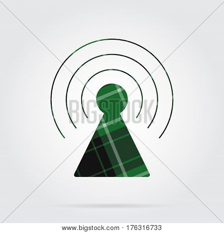 green black isolated tartan icon with white stripes - transmitter tower and shadow in front of a gray background