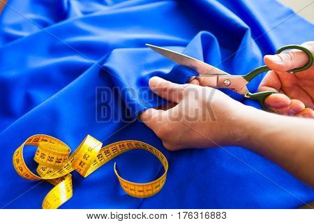 Tailor. Hands Notch Tailor Tailor's Scissors Cloth.
