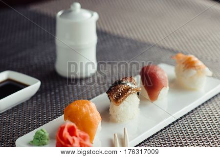 Japanese sushi with salmon, tuna, shrimp and eel
