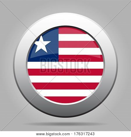 National flag of Liberia. Shiny metal gray round button with shadow.