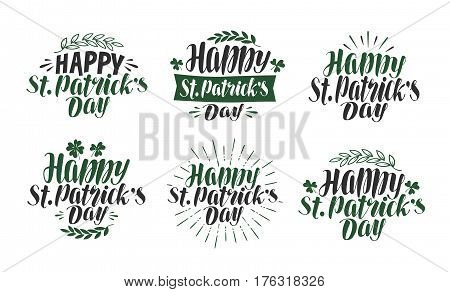 Happy St. Patrick's Day, lettering typography. Irish beer festival, label set. Vector illustration isolated on white background