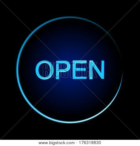 Blue neon sign of the word Open on a black background