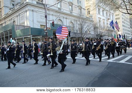 NEW YORK - MARCH 17, 2016: New York City Police Band marching at the St. Patrick's Day Parade in New York.
