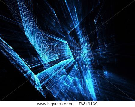 Computer generated abstract tehnology image. Three-dimensional blue fractal texture