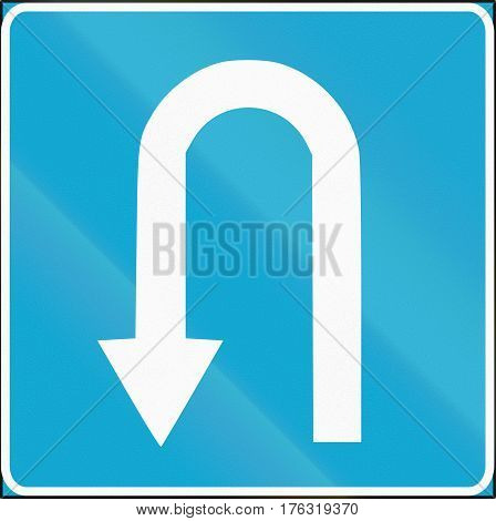 Estonian Regulatory Road Sign - U-turn Mandatory