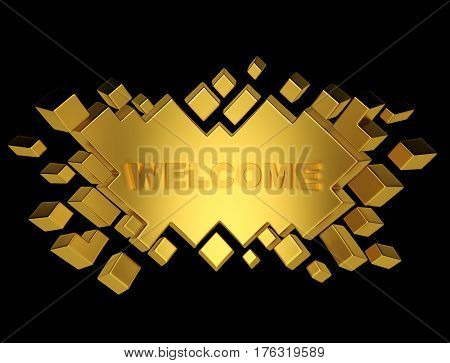 Gold welcome geometric background from cubes. 3d rendering