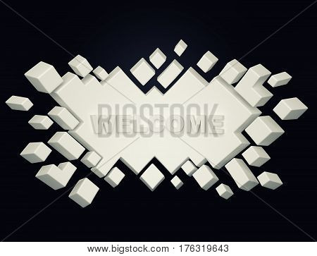 White welcome geometric background from cubes. 3d rendering
