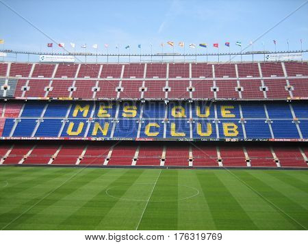 BARCELONA, SPAIN, JULY 24 2016: FC Barcelona (Nou Camp) football stadium. It is the largest stadium in Europe. Barcelona, Spain.